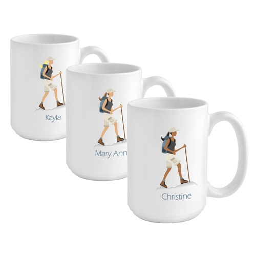 Give a hiker girl a custom coffee mug to reflect her favorite hobby. Be sure she can unwind after a long day on the trail with her favorite beverage in a custom coffee mug! Our Hiking coffee cup is perfect for the hiker gal on your gift list. This 15 oun #mug