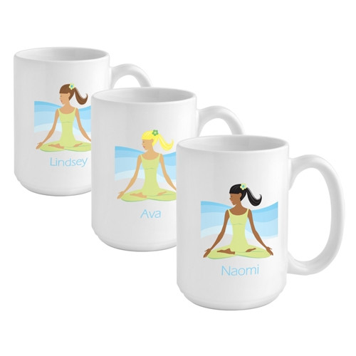Now she can meditate over a warm cup of chai tea with our Meditate coffee mug! Meditate on this. Our Meditation coffee mug is a perfect gift. This stylish coffee cup features fun imagery and personalization for a gift that uniquely expresses her individu #mug