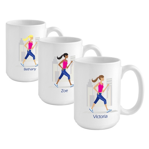 Give a girl on the run a custom coffee mug to reflect her favorite activity! A girl on the run needs a stylish coffee mug to come home to! Our Walking and Running coffee cup is the perfect way to unwind with a soothing beverage after exercising. Her 15 ou #mug