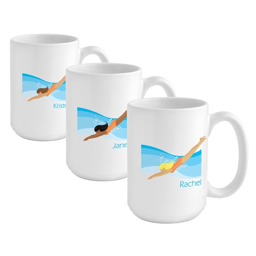 Give a swimmer girl a custom coffee mug reflecting her favorite sport! Help her unwind after a day at the pool with her favorite soothing beverage in a fun custom mug! Our Swimming coffee mug is perfect for the swimmer girl on your gift list. This 15 ounc #mug