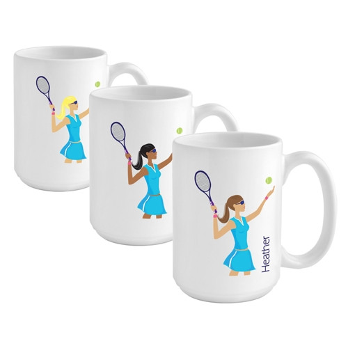 Give the tennis player on your list a custom mug to reflect her favorite sport! Help her unwind after a long day on the court with a favorite beverage in a custom mug! Our Tennis coffee mug makes a great gift for the tennis player on your gift list. This #mug