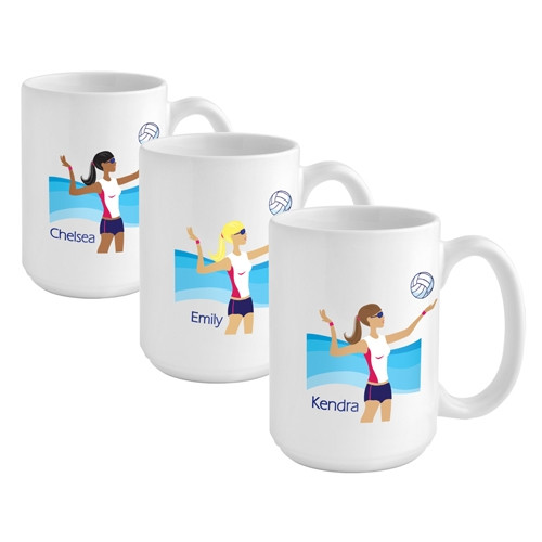 Set her up with this fabulous custom mug for a volleyball enthusiast! Help her unwind after her next volleyball match with a soothing drink in her own custom mug! Our Volleyball coffee mug is a terrific gift for the volleyball playing gal on your gift lis #mug