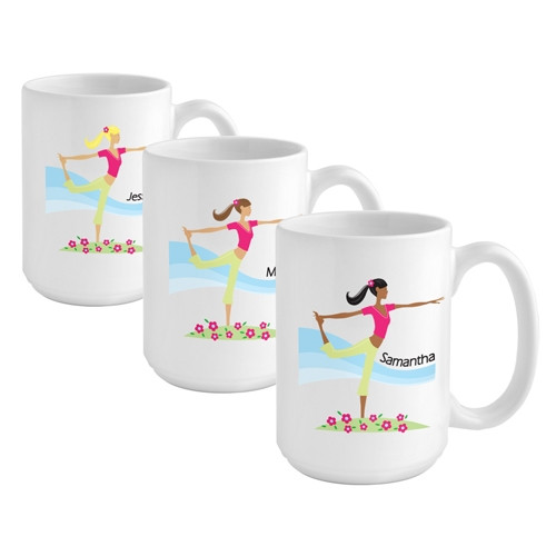 Personalize a Yoga coffee mug for the yoga girl in your life. ! Make sure she has a way to enjoy her chai tea after that strenuous Yoga workout with our Yoga custom coffee mug. This heavy white ceramic mug features trendy imagery for a stylish way to enjo #mug