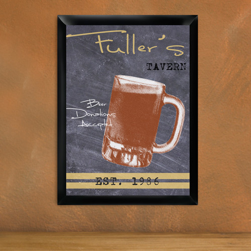 The beer is always icy cold but the welcome is warm at his home bar adorned with a custom tavern sign! Now he can toss a few back at home with all the ambiance of his favorite tavern! Our Mug Chalkboard tavern sign is fashioned to resemble a pub chalkboar #mug