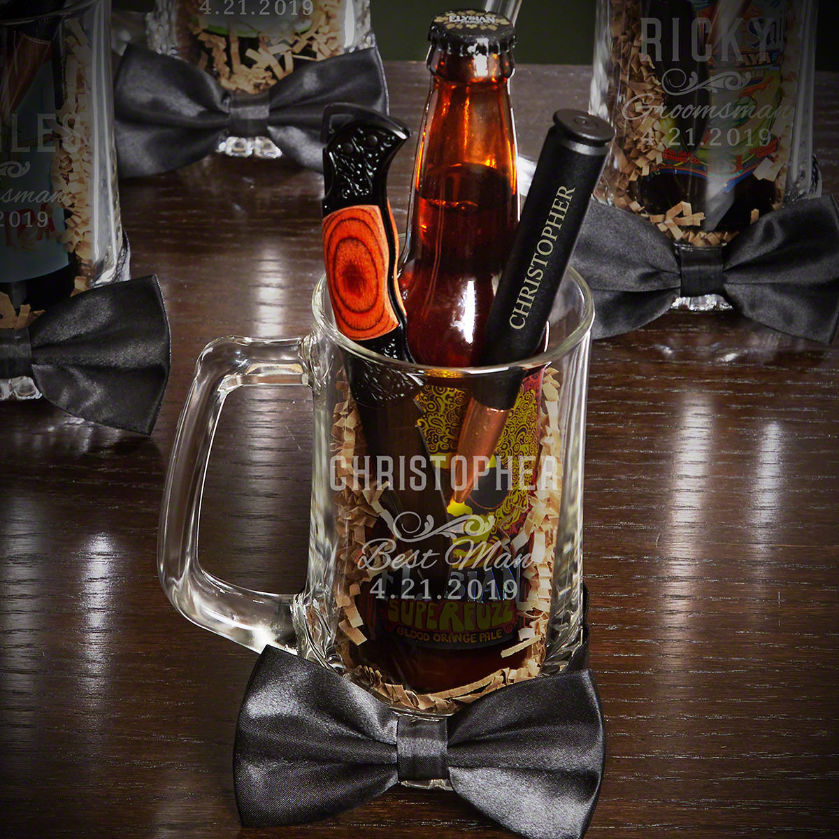 You've already picked out the perfect engagement ring. Now it's time to find the perfect groomsman gift. This Classic Groomsman beer mug gift set has everything your groomsman will need. They'll get a keen-edged lockback knife for everyday situation #mug