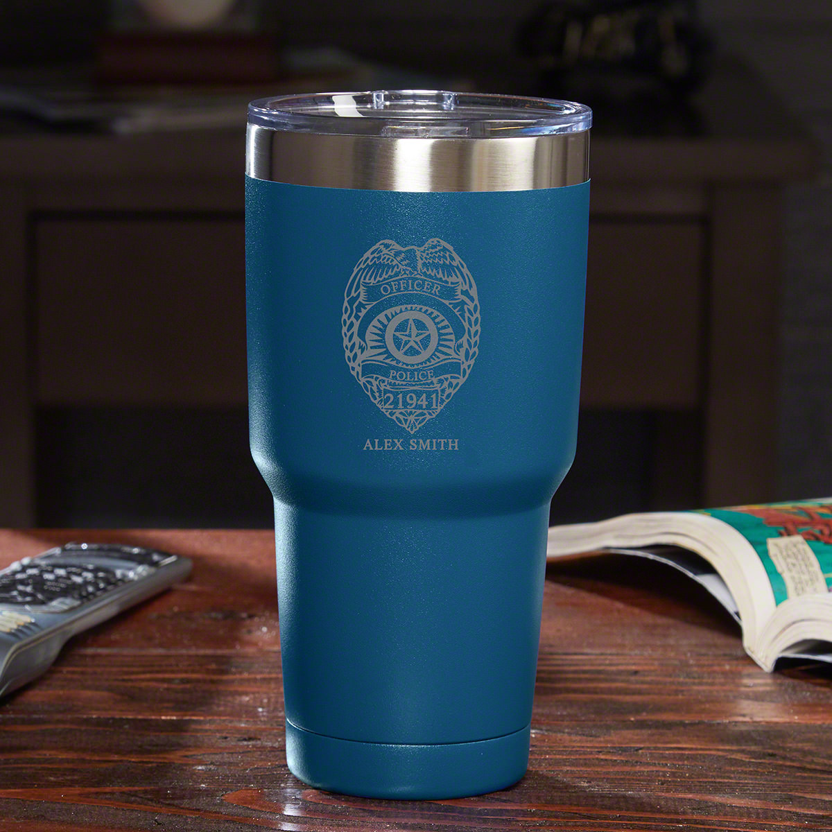 When you favorite officers get the Police Badge personalized travel mug in their hands, they'll never want to put it down. A Yeti-style drink tumbler, it's made from powerhouse 18/8 stainless steel. The double-wall, vacuum insulated construction keeps yo #mug