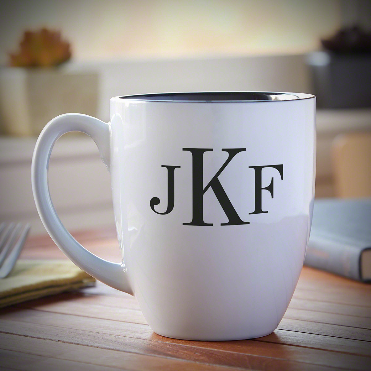 For those who can't wake up until after a hot cup of morning caffeine, our Classic Monogram personalized coffee mug is a useful & unique gift for all occasions. Glossy and white on the outside, we engrave the side with up to three letters of custom text. #mug