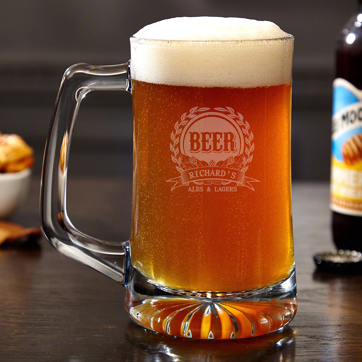 If people want evidence of your good taste in craft beer, give them proof with our Mark of Excellence personalized beer mug. Holding a perfect 15 ounces, these engraved glass mugs are ideal for at home beer tastings, or just enjoying a beer and shot on a #mug