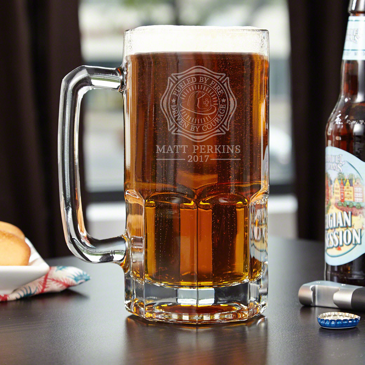 Nothing cools you down like an ice cold craft beer from a custom chilled mug after day fighting flames. Featuring our Fueled by Fire design, each piece of glassware will look amazing in your home bar or man cave. Crafted of thick and durable glass, each o #mug