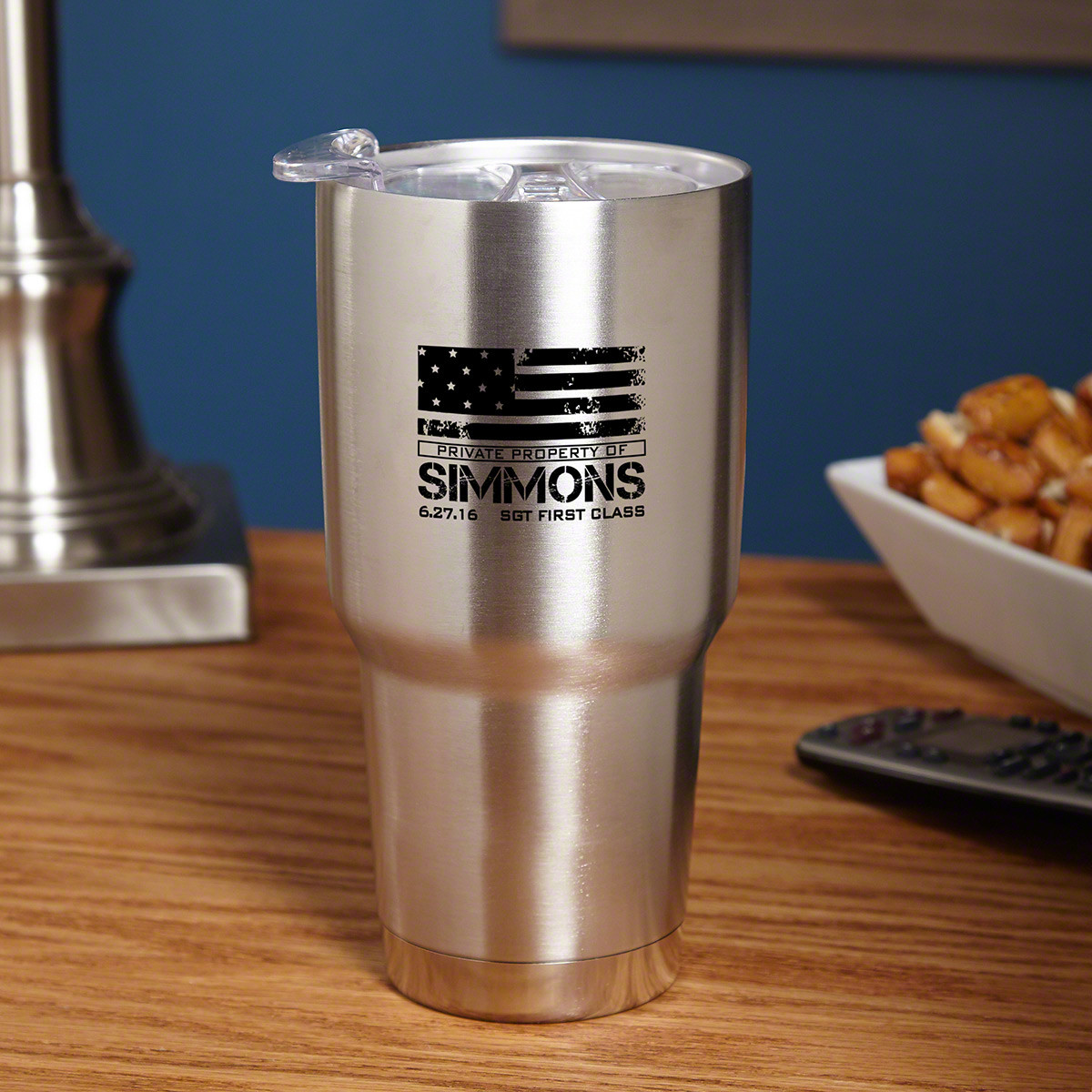 Don't get annoyed by disposable cups that just fall about, then fill up landfills. Give your favorite patriot a gift to last a lifetime with our American Heroes personalized insulated travel mug. Machined from 18/8 double-walled, vacuum insulated stainles #mug