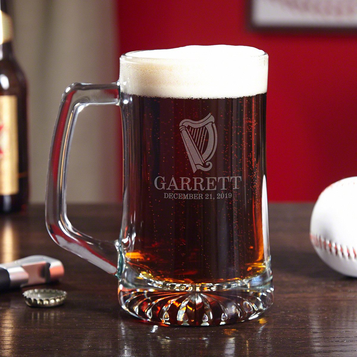You can practically hear the glistening melodies of the legendary Celtic Harp when you drink from this handsome personalized glass beer mug. Calling to mind the emerald green hills of County Cork, these engraved glass steins are designed especially for t #mug