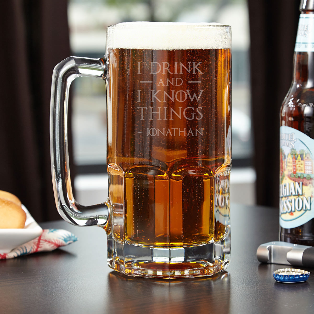 If you're confident in two things in this world it should be your knowledge and beer drinking. If that's the case then the personalized I Drink and I Know Things mug is the piece to bring it all together. Capable of holding an impressive 33 ounces, th #mug