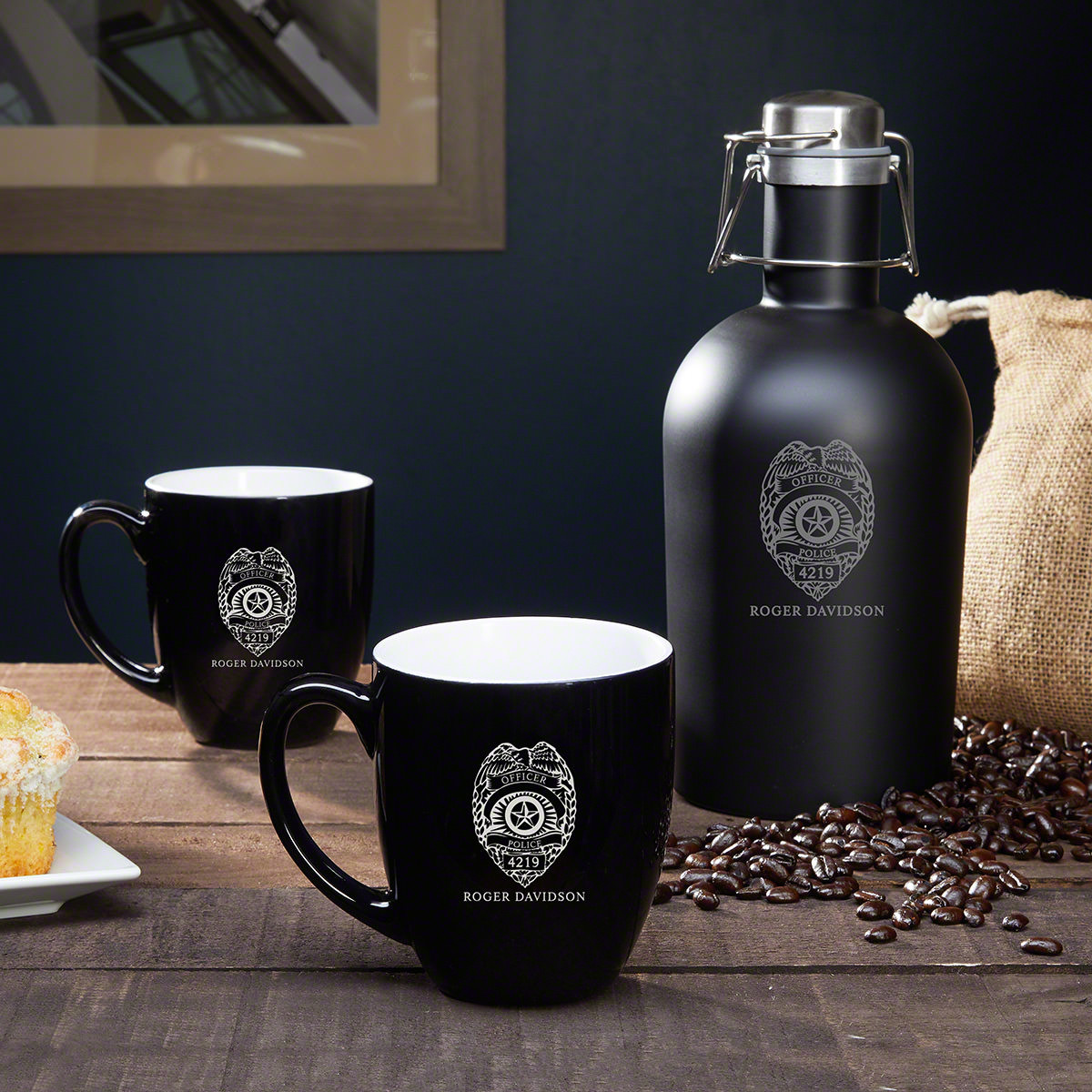 A police officer needs to be alert in order to succeed at his job. That's our personalized police gift set has the secret tools any officer needs to always be ready. An insulated coffee growler allows the police officer in your life to always have a war #mug
