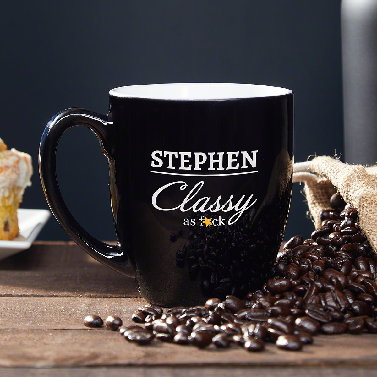 It's time to let the world you're the classiest bro in the world. A personalized funny coffee mug engraved with the finest four letter word is exactly what you need to step it up a notch. Engraved with the name of your choice, this mug will keep your #mug