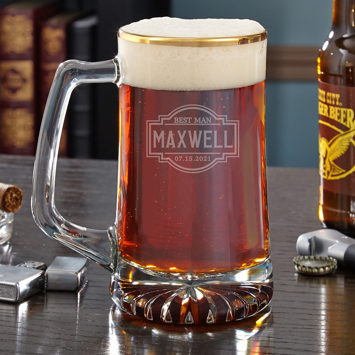We bet you didn't think a beer mug could be this sophisticated. This handsome personalized beer mug has a 22k gold rim, a beautiful starburst base, and a cool engraved design. Featuring a title, name, and date of your choosing, this mug is meant to comm #mug