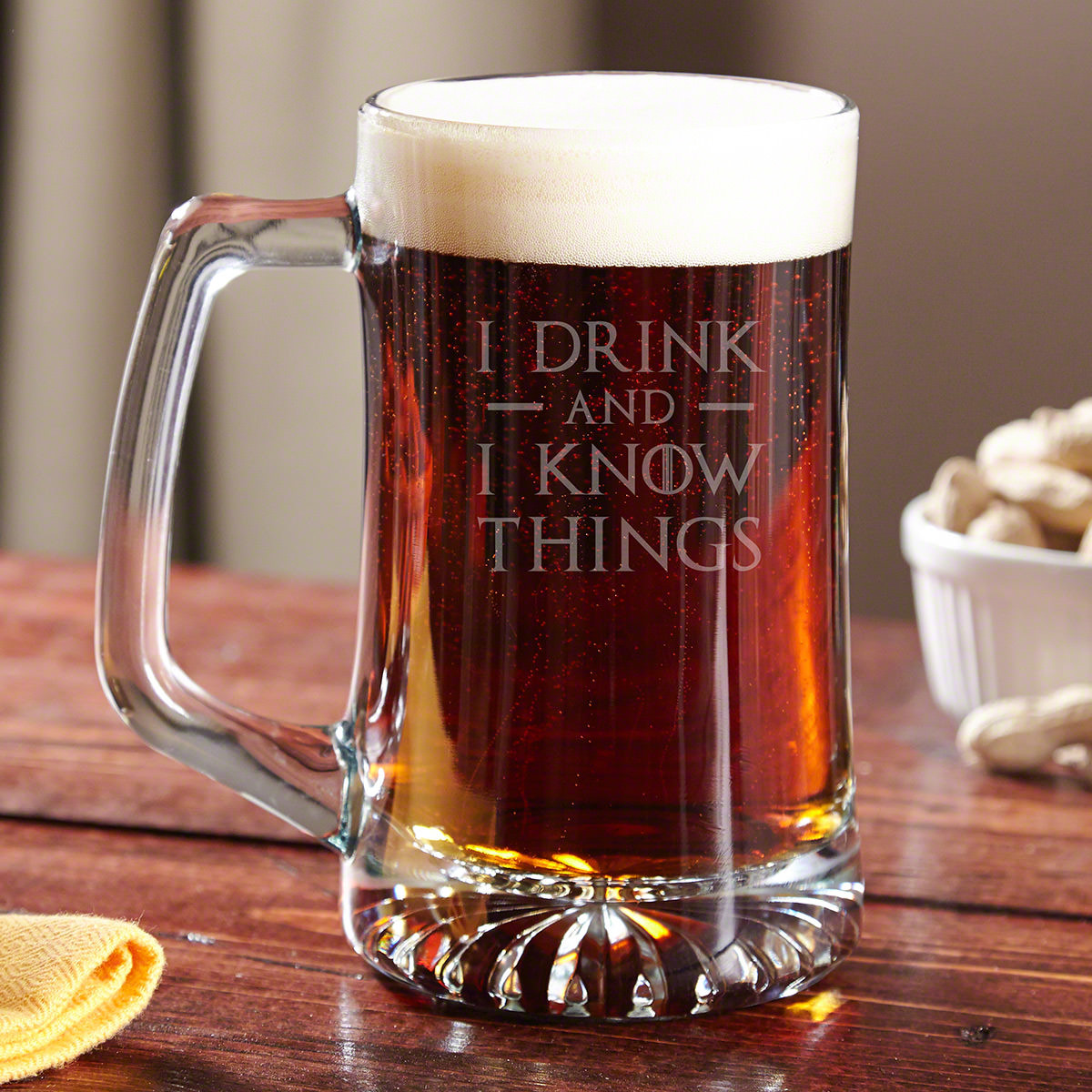 Celebrate Game of Thrones properly with our I Drink and I Know Things mug. This beer mug pays homage to one of the greatest quotes from Tyrion Lannister. No self-respecting GoT fan should take a trip to Westeros without an I Drink and I Know Things mug by #mug