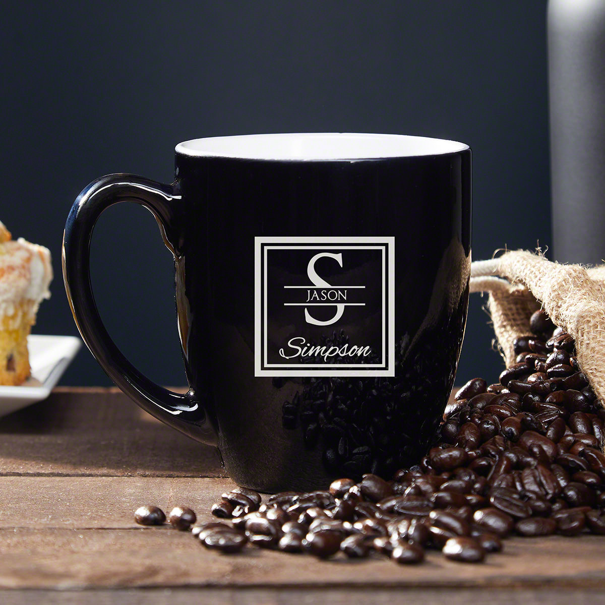 Make the morning haze easier to fight through when you reach for a personalized coffee mug. Our coffee mug will be there when you need caffeine to power through your day. It's great for coffee and tea. Engraved with the initial, first name, and last nam #mug