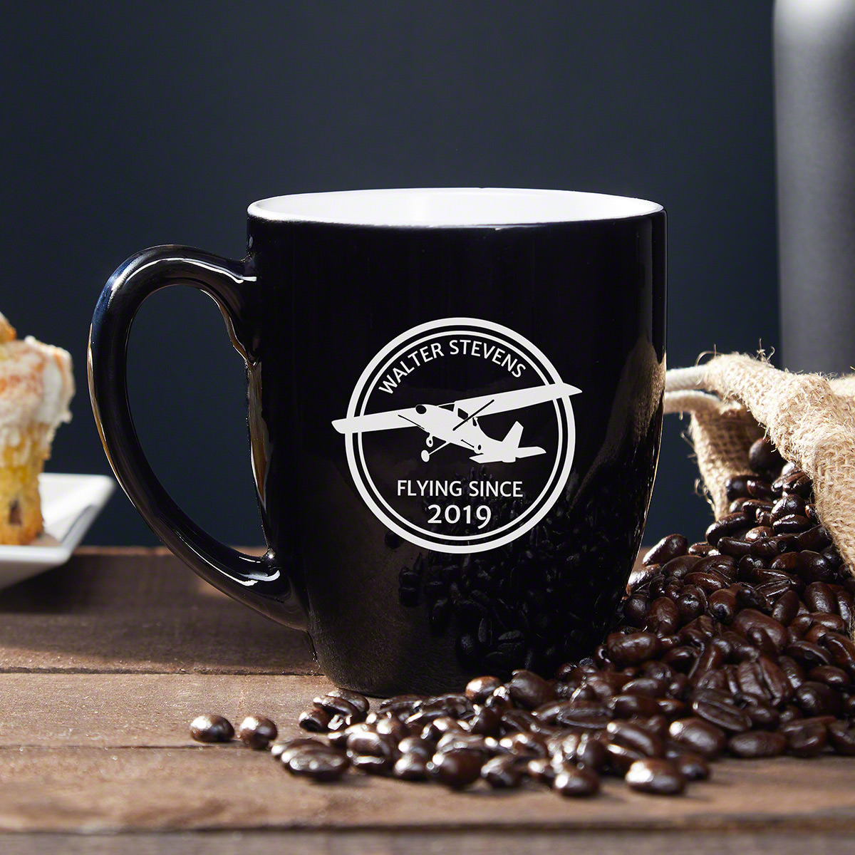 Aviators rely on coffee to stay energized and focused when they're flying all day, which makes this personalized coffee mug an excellent gift for pilots. Now he can enjoy a quality cup of Joe before taking off in style. Featuring the silhouette of a Ces #mug