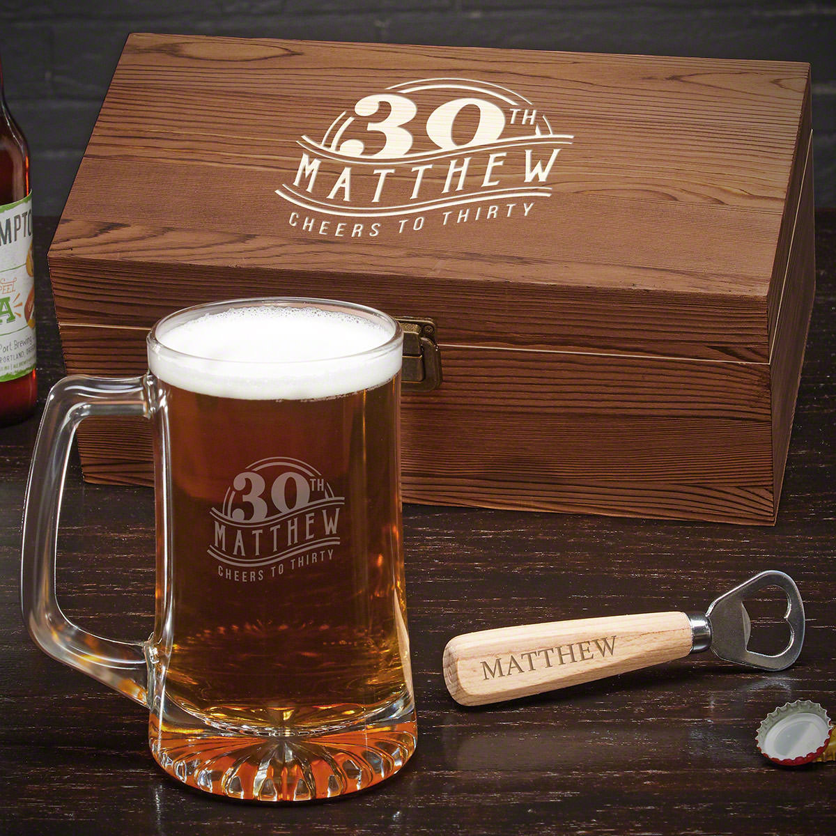 Turning 30 is a big deal, and the new 30-year-old in your life deserves a great gift. This customized beer mug set is one of the best 30th birthday gift ideas there is. Included in the set is a wooden box, beer mug, and bottle opener. The sturdy beer mug #mug