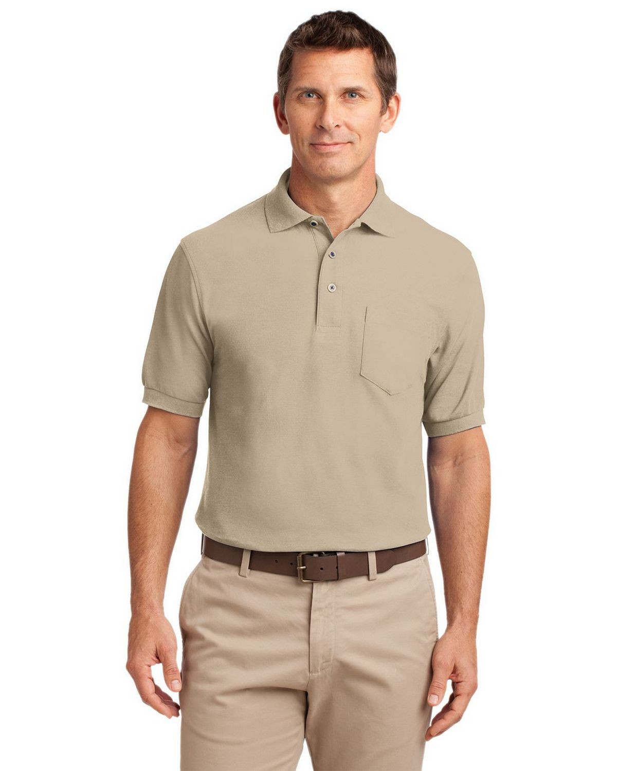 Port Authority K500P Men's Silk Touch Polo with Pocket - Stone - XS #silk
