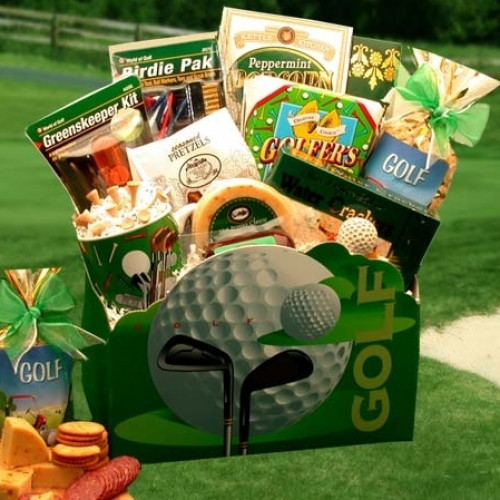 Our golf gift basket starts with a lasting classic wooden gift box which includes a hand painted golf designs. It will attract top compliments on any golf lover's desk. This handsome golf gift chest is filled with an array of tasty gourmet treats and even #gift