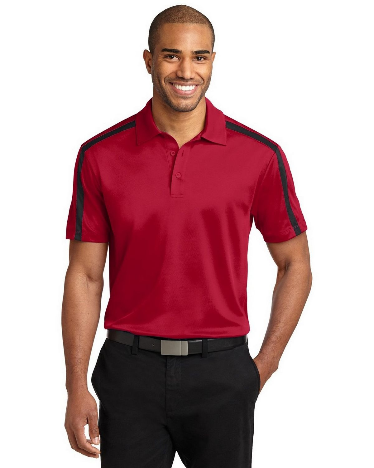 Port Authority K547 Men's Silk Touch Performance Colorblock Stripe Polo - Red/Black - XS #silk