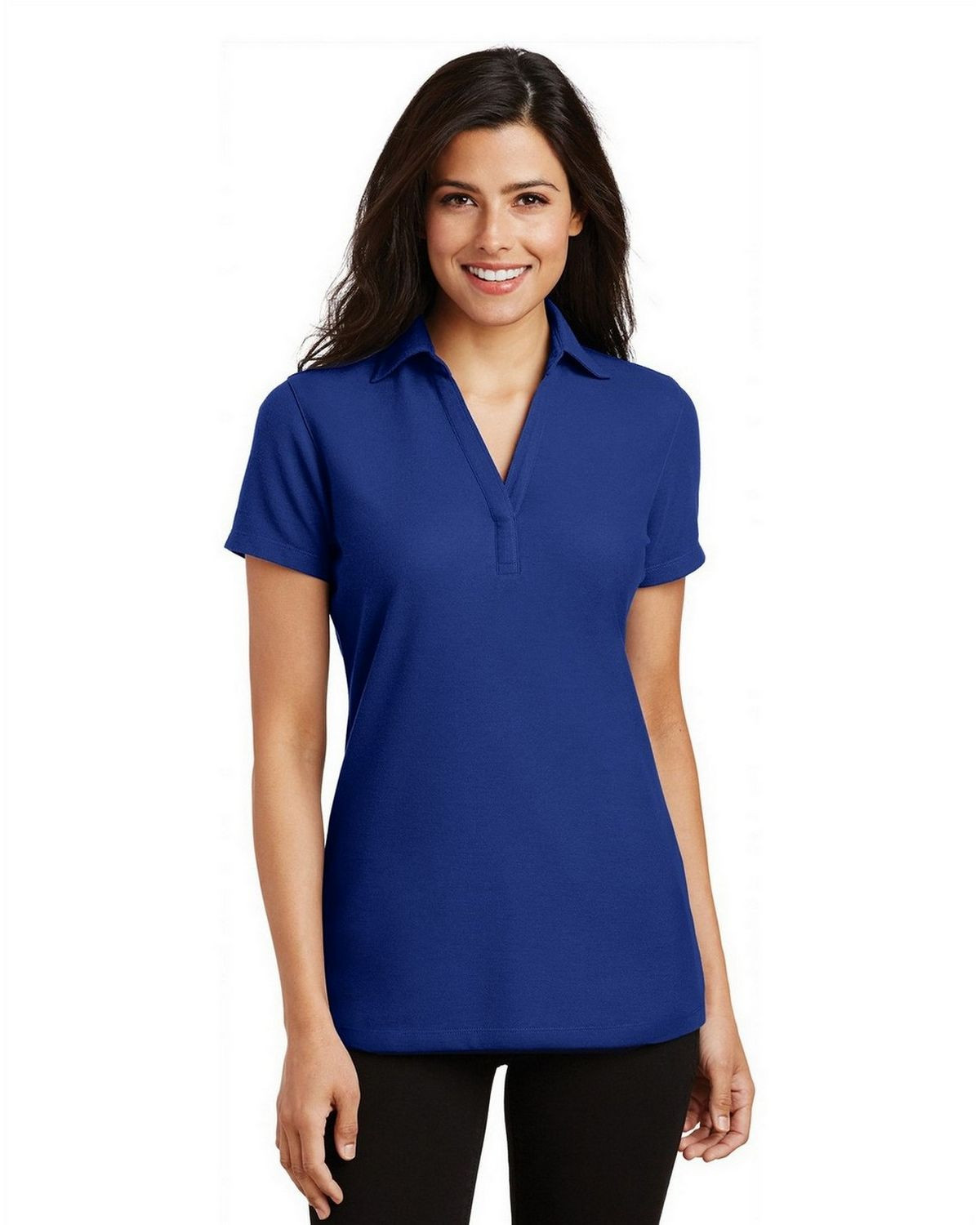 Port Authority L5001 Women's Silk Touch Y-Neck Polo - Royal - XS #silk