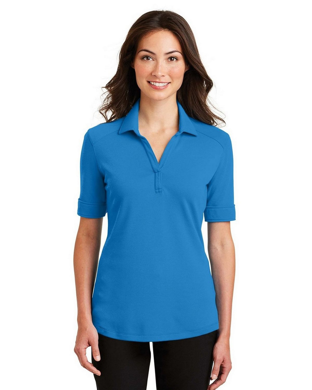 Port Authority L5200 Women's Silk Touch Interlock Performance Polo - Brilliant Blue - XS #silk