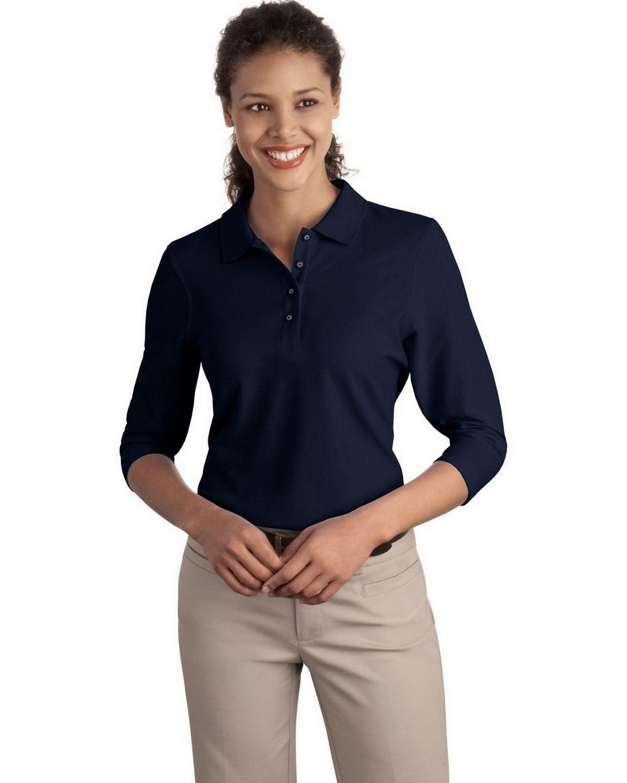Port Authority L562 Women's Silk Touch 3/4-Sleeve Polo - Navy - XS #silk