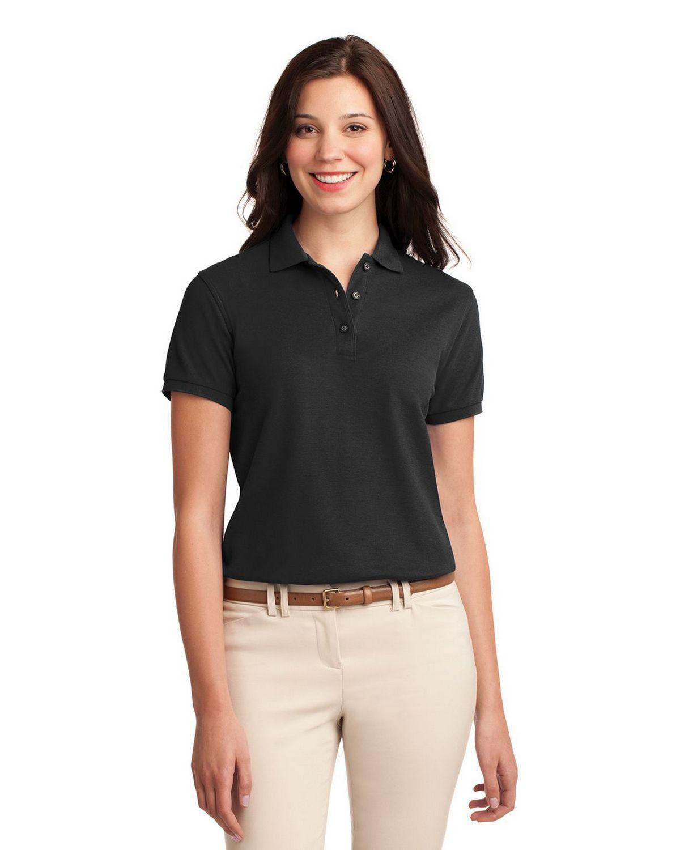 Port Authority L500 Women's Silk Touch Polo - Black - XS #silk