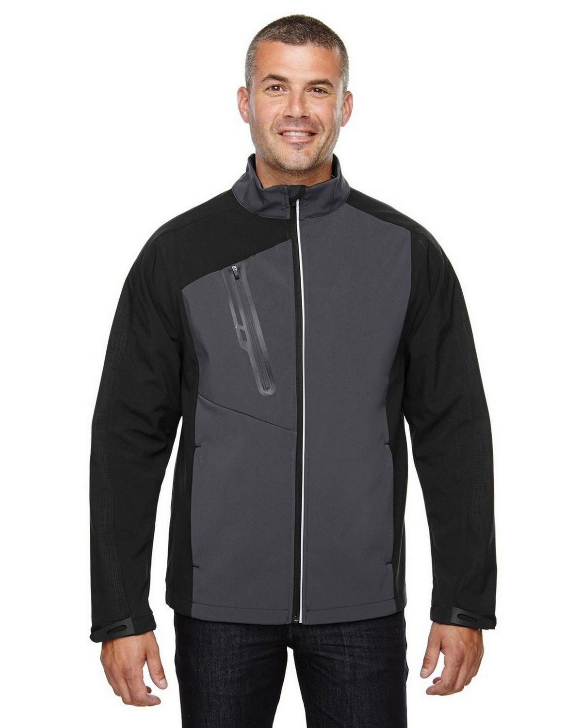 North End 88176 Men's Terrain Color-Block Soft Shell With Embossed Print Jacket - Black Silk - S #silk