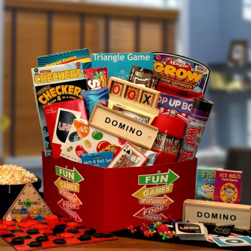 It's a gift of hours of fun and hours of snacking! An exclusive gift box filled with hours boredom busting fun for the young or the young at heart. This selection makes a great family gift or super sized gift for a special someone's birthday. This game n #gift