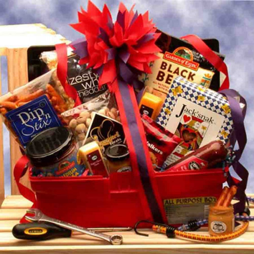 Perfect gift for Mr. Fixit features a reusable tool box! A great gift for all those handy guys and girls! This gift is specifically designed to get all those over due Honey-do jobs completed. Mr. or Mrs. Fixit will love this gift tote! Gift Basket Conte #gift