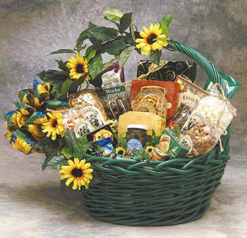 Brighten someone's day with this cheerful gift basket! The Sunflower Treats gift basket expresses your sentiments in a bright and sunny way. Add some sunshine to anyone's day with the assorted gourmet food items in this elegant basket. This makes a great #gift