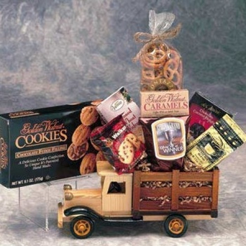Solid wood antique truck carries a load of sweet and savory goodies that can be enjoyed at home or at the office. #gift