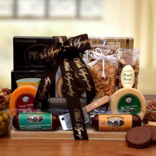 This tasteful sympathy gift includes sausages, cheeses, nuts, and more to show your support in a difficult time. #gift