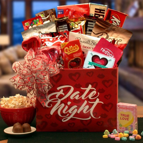 This adorable Valentine's Day basket features a soft Be Mine teddy bear and scrumptious sweets for someone special. Our Valentine Date Night gift box is the perfect gift for those couples that simply like to be home and enjoy each others company and settl #gift