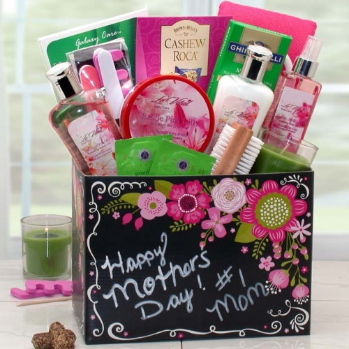 Elegant Gift Box with Mother's Day Theme. Mother's Day themed elegant gift box arrives packed with Exotic Lily body products including a fingernail bristle brush, pedicure gift set, aromatherapy glass poured candle, chocolates, aloe face peel mask, green #gift