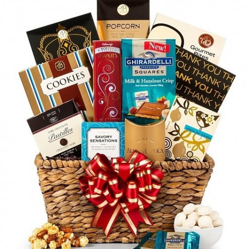 A tempting assortment in a beautiful woven basket! This handsome gift basket features a sampling of our very finest gourmet indulgences and arrives overflowing in an attractive woven basket. with such a variety of tastes and textures, you can rest assured #gift