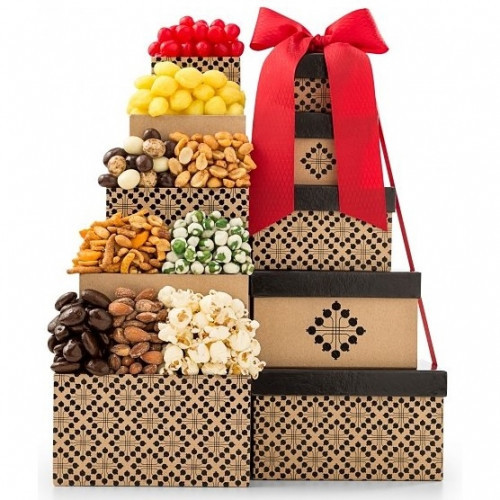 A shareable gift of snacks and treats. Definitively sweet, savory, crunchy and chewy, this collection of snacks and candies is a tour of tastes and textures in a tower of gift boxes. Any occasion will be made all the better by opening one box of delicious #gift