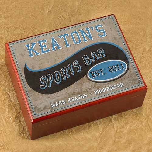 Does the sports fan on your list enjoy a good cigar while watching a game? Then this gift is made just for him! This Sports Bar Humidor keeps his cigars fresh, with the theme to suit his style! No matter the occasion this is a great gift for dad, grandp #bar