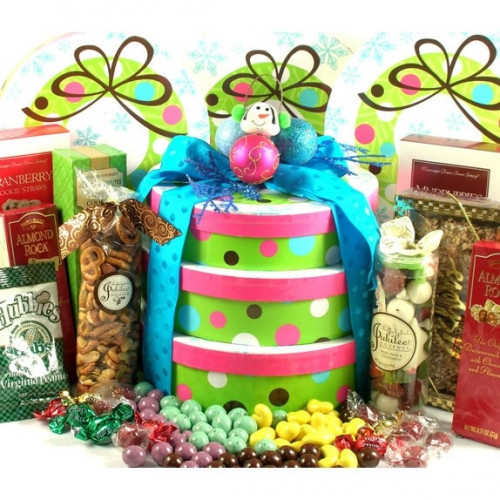 This colorful three box holiday gift tower boasts a beautiful wreath design and arrives with a snowman ornament, chocolates, candies, cookies and more. Receiving this festive Christmas gift tower will have them saying just how sweet it is to be loved by #gift