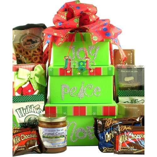 Three holiday-themed gift boxes and a keepsake ornament. Wish them a joyful, peaceful holiday with this cheerful Christmas gift tower filled with an assortment of sweets and more! Each adorable reusable designer holiday box features one these terms: Joy, #gift