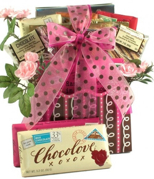 Colorful and fun, this romantic gift basket arrives brimming with delicious sweets for your sweetheart. #gift