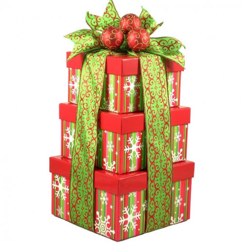 A three snowflake themed gift boxes and a keepsake cheese spreader are sure to delight. This eye-catching tower in traditional Christmas flair is just stunning! It offers a wonderful mix of some of our most popular snacks and sweets! Say Merry Christmas! #gift