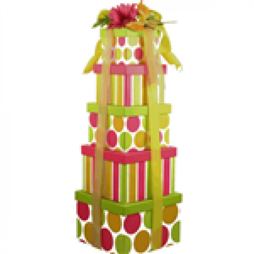 Colorful 5 Box Giant Gift Tower is over 2 Feet Tall! We know they are going to absolutely love this deluxe gift tower! It is just a show-stopper type of gift. This stunning five-tier tower stands over two feet tall and arrives tied with colorful ribbon, t #gift