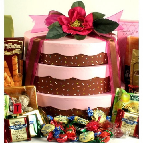 This clever gift tower looks like a beautiful three layer cake! Send our unique cake gift tower featuring a nested box trio designed to look like a delicious cake!The three layers are carefully hand packed with the most amazing sweets and treats which mak #gift