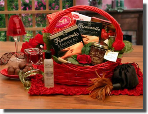 A gift of the Romantic Massage - Add the magic of massage to your Valentines Day with a gift of the Romantic Massage Romance Gift Basket. Your Valentine will long remember the treats in store in this basket of loving gifts, including massage oil, an acryl #gift