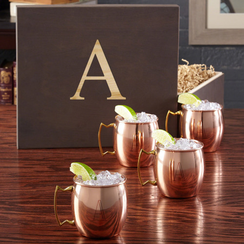 Moscow Mules have been an admired drink in America since the 1940s. Give your vodka enthusiast a gift to remember with our beautifully personalized Moscow Mule mug gift set. Coming complete with four of our high quality 16 ounce copper-plated stainless st #gift