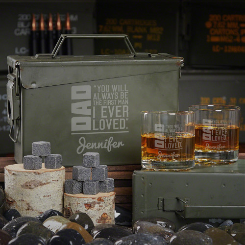 No one has been able to measure up to your father, but he can be impossible to find a gift for. That's why this To Dad From Daughter Gift of a custom 30-caliber ammo can is something he'll love and never expect. Packed with a pair of engraved whiskey #gift